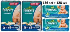 Pampers Active Baby Giantpack 5 Junior - 136 szt  + 2x chusteczki