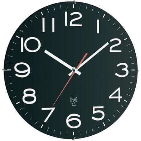 TFA Analógové nástenné DCF hodiny 30 cm, čierna