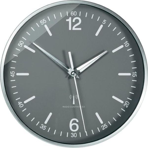 Eurochron Analogové nástěnné DCF hodiny 19.5 cm, hliník