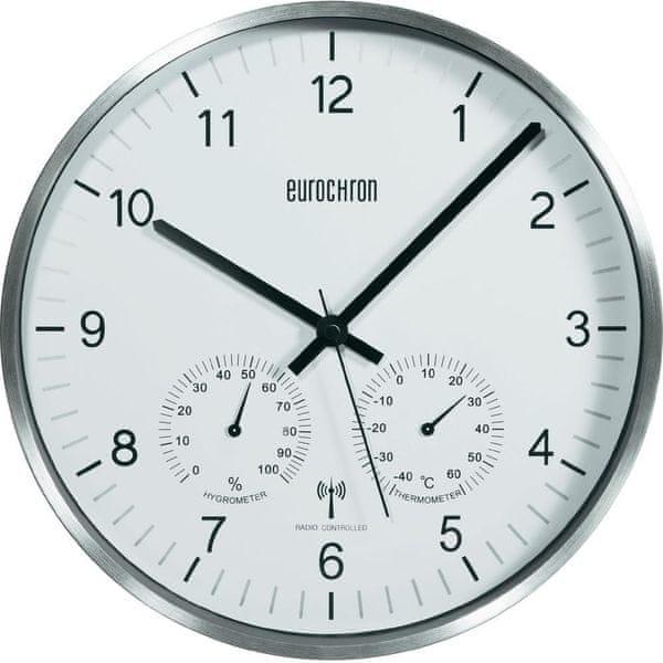 Eurochron Analogové DCF hodiny s teploměrem a vlhkoměrem EFWU 6400, 30,5 cm, stříbrná - II. jakost