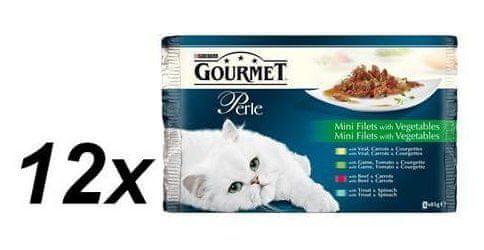 Gourmet Perle Multipack Classic 12 x ( 3+1 Zdarma 85 g ) Grilované kousky ve štávě se zeleninou