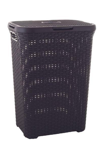 Curver Koš na špinavé prádlo RATTAN 40l tmavě hnědý 00709-210