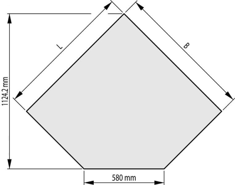 HAAS+SOHN Sklo pod kamna 1000x1000, forma B