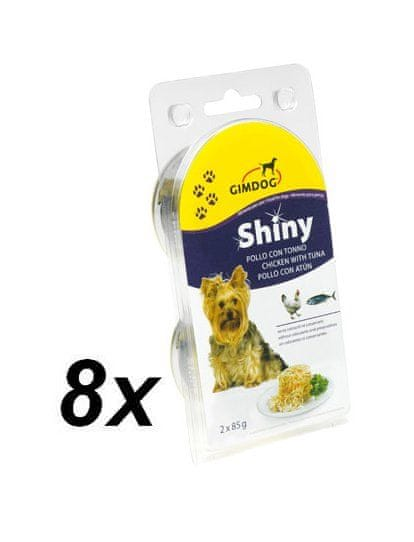 Gimpet SHINY DOG kuře + tuňák 8 x ( 2 x 85g )