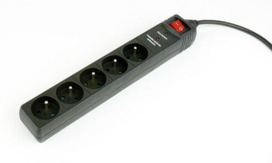 Gembird SPF5-C-5, 5-zásuvek, 1,5m, černý