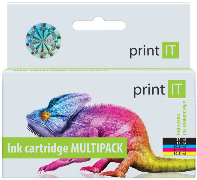 Print IT PGI-525PGBk + CLI-526C/M/Y/Bk, multipack (PI-525526)