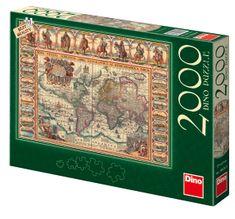 DINO Puzzle historická mapa sveta, 2000 dielikov