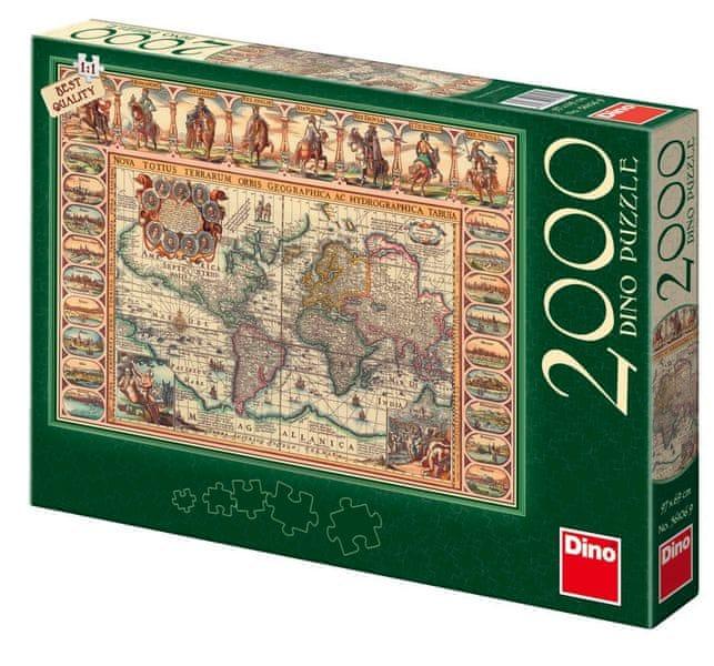 Dino Puzzle historická mapa světa, 2000 dílků