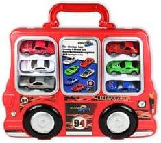 GearBox Autíčka v kufríku 1:48, 6ks červený