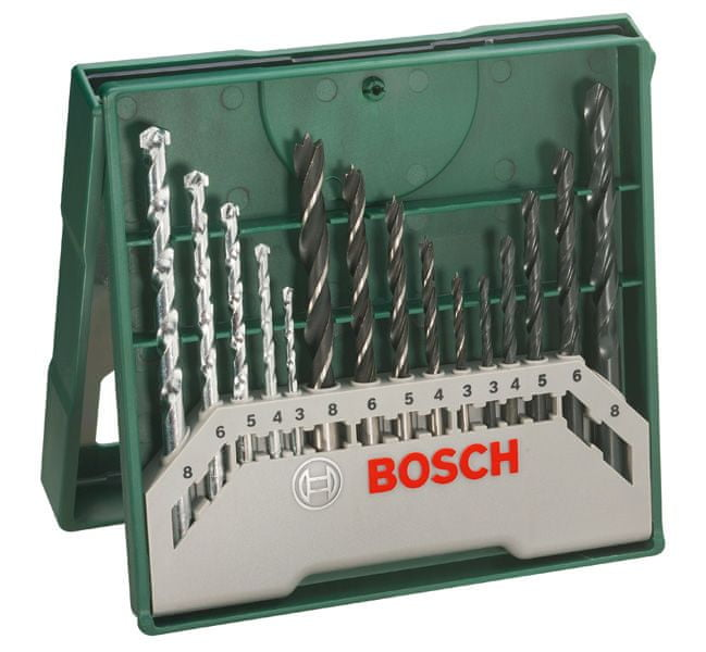 Bosch Mini X-line set, vrtáky, 15 dílný (2.607.019.675)