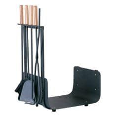 M.A.T. Group nářadí krb.v.62cm, ŠE ocel/dřevo, sada 4díl.+ KOŠ NA DŘEVO