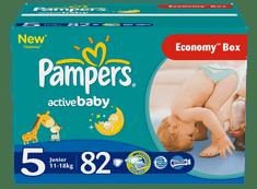 Pampers Active Baby, Pieluchy, rozmiar 5 Junior , 82 sztuki