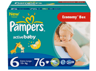 Pampers Active Baby 6 Extra Large - 76 szt.