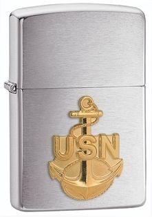Zippo Vžigalnik Classic Navy Anchor Emblem Brushed Chrome