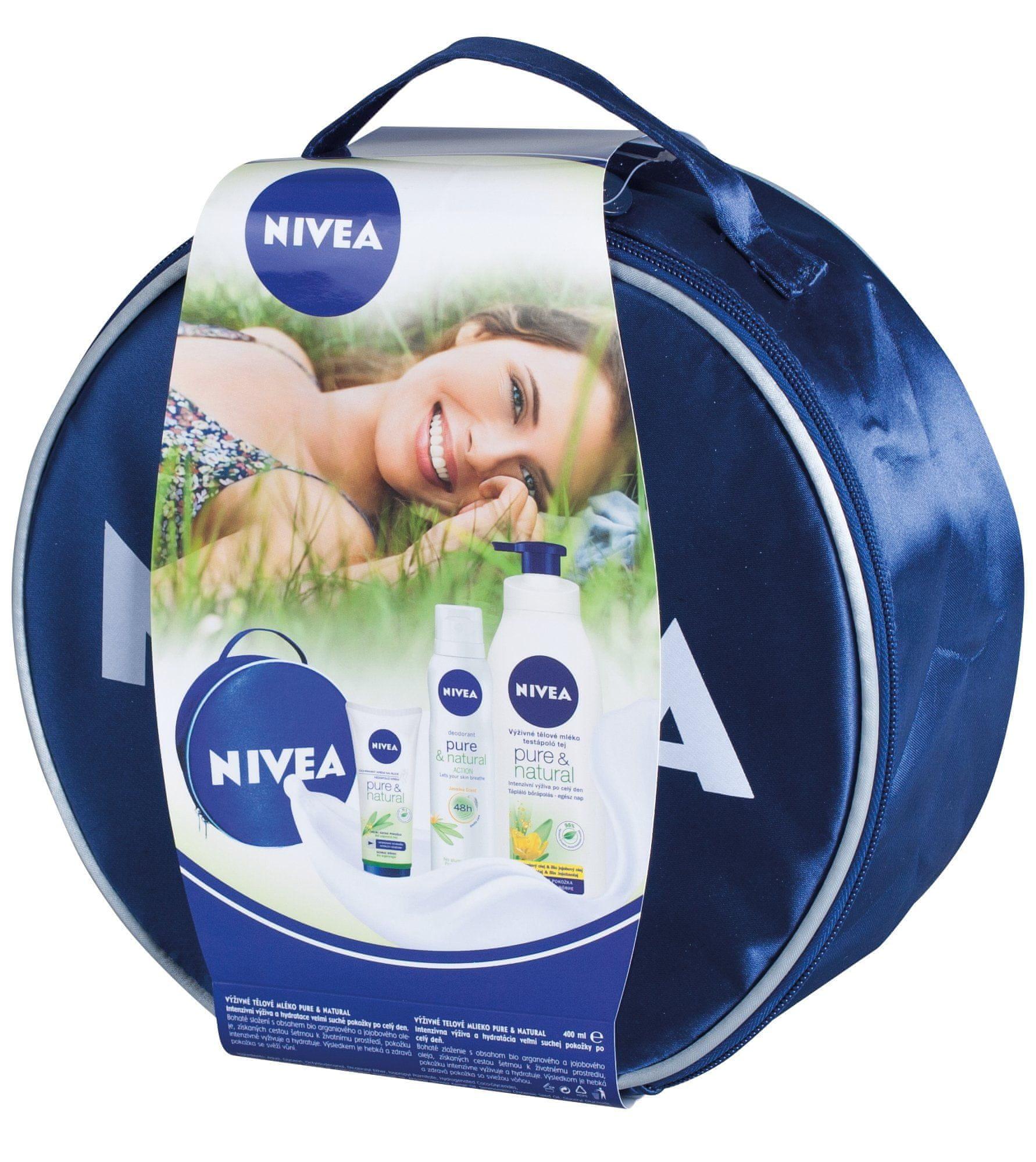 Nivea Zestaw Pure & Natural - balsam do ciała + krem do rąk + dezodorant