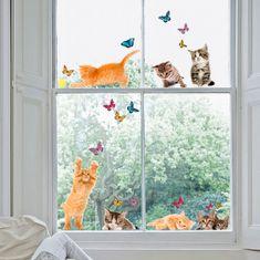Crearreda Dekorativna nalepka za okno, muce