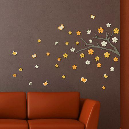 Crearreda Stenska dekorativna nalepka, japonska veja 3D