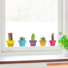 Crearreda dekorativna nalepka za okno, kaktusi