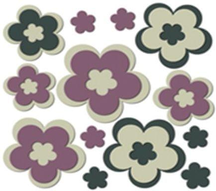 Crearreda stenska dekorativna nalepka 3D, rože (54500)