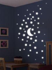 Crearreda Svetleča stenska dekorativna nalepka, super zvezde