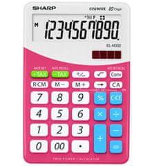 Sharp kalkulator ELM332BPK, namizni, 10-mestni, bel/roza