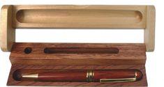 Eurocom Kemični svinčnik v leseni embalaži, dvobarven