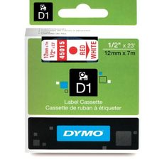 Dymo Trak za tiskanje nalepk D1, širina 12mm/7m, bel/rdeča 45015