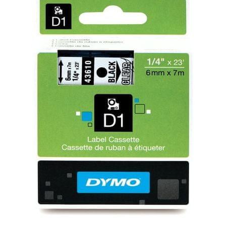 Dymo Trak za tiskanje nalepk D1, širina 6mm/7m, prozoren 43610