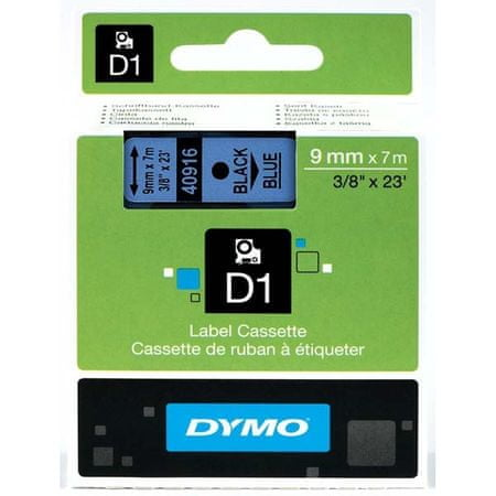 Dymo Trak za tiskanje nalepk D1, širina 9mm/7m, moder 40916