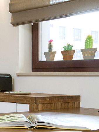 Crearreda Dekorativna nalepka za okno, kaktus 6611