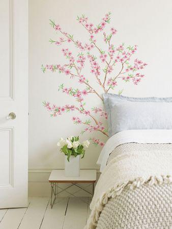Crearreda Stenska dekorativna nalepka, cvetoče breskve