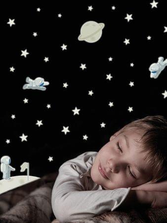 Crearreda Svetleča stenska dekorativna nalepka, astronavti