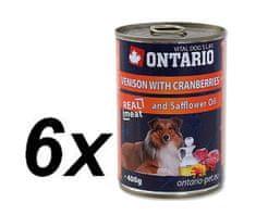 Ontario mokra karma dla psa Dziczyzna, żurawina i olej szafranowy - 6 x 400g.