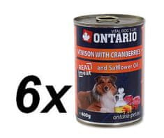 Ontario konzerva zvěřina, brusinky a saflor.olej 6x400g