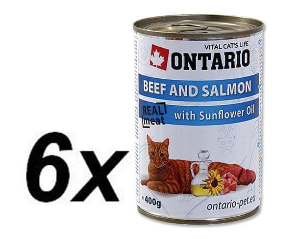 Ontario konzerva hovězí, losos a slun.olej 6x400g
