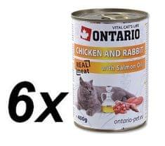 Ontario Macskakonzerv nyúl, csirke és lazac olajjal 6 x 400 g