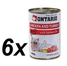 Ontario konzerva kuře, krůta a losos.olej 6x400g
