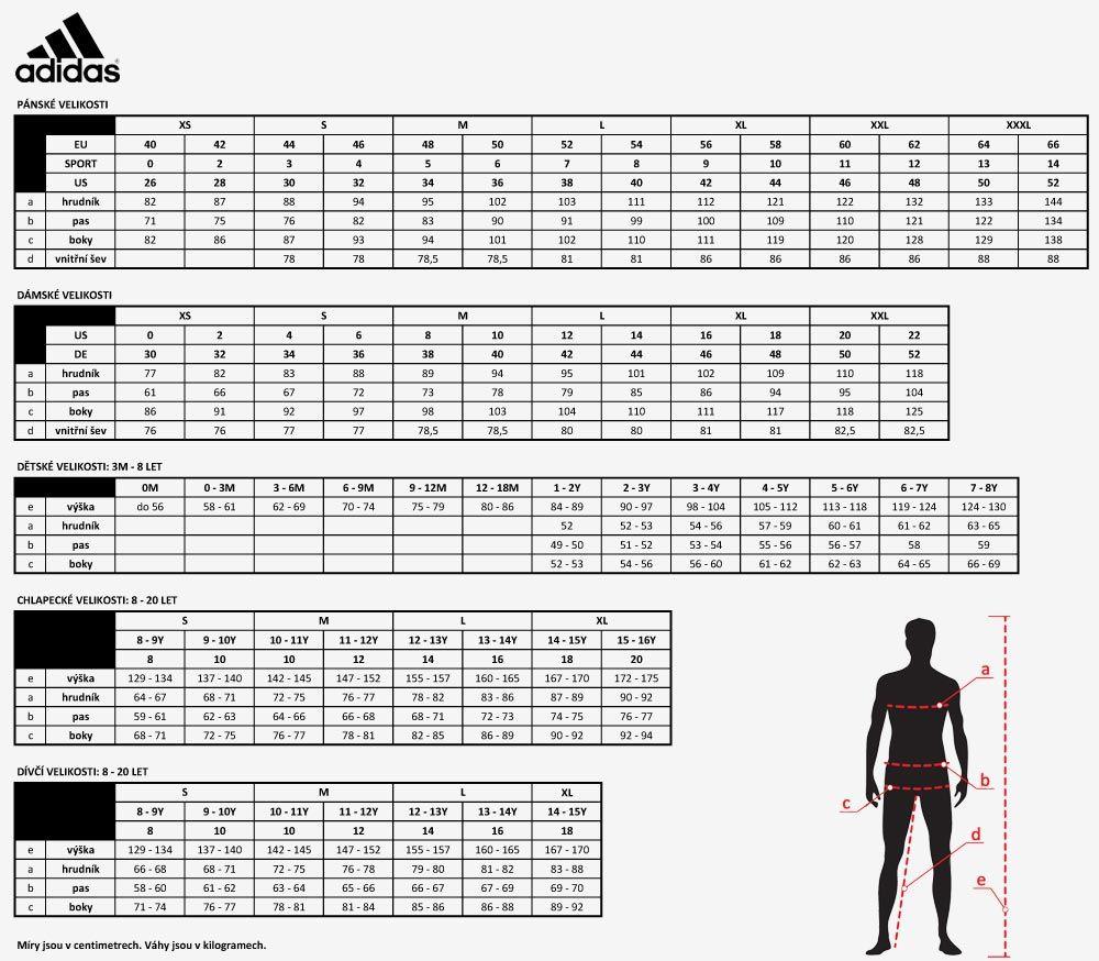 Velikostní tabulka - oblečení Adidas - Glosář od A do Z ...
