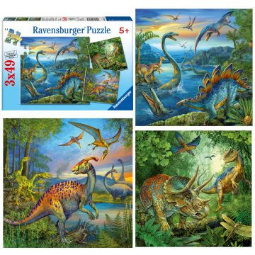Ravensburger sestavljanka Dinozavri, 3x49 kosov