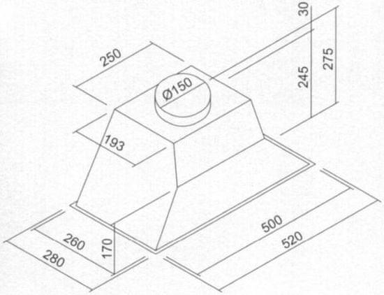 Siccabo vgradna napa Tropea PW IX, 60 cm