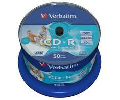 Verbatim CD-R medij 700 MB Wide Inkjet Printable (43438), 50 na osi