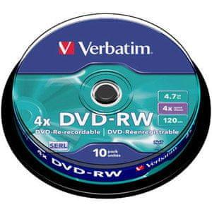 VERBATIM DVD-RW 4.7GB 4x Rewritable 10-pack (43552)