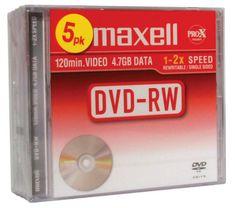 Maxell DVD-RW medij 4,7GB, 2X, 5 kos, 10 mm