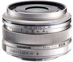 Olympus objektiv M. Zuiko Digital EW-M1718 17 mm 1:1,8, srebrn