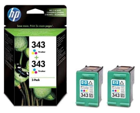 HP č.343 dvojbalení tříbarevné originální inkoustové kazety (CB332EE)