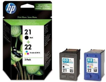 HP komplet dveh kartuš 21, črna in 22, večbarvna