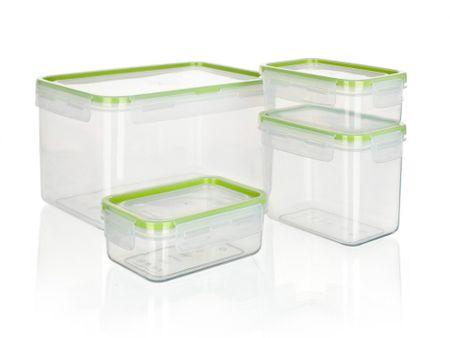 Banquet 4-delni set posod za shranjevanje Super Click, zelen
