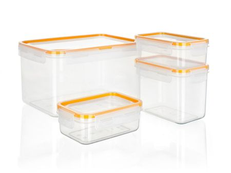 Banquet 4-delni set posod za shranjevanje Super Click, oranžen