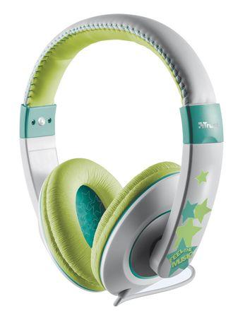 Trust slušalke Sonin Kids, sive/zelene