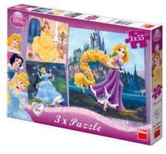 DINO Disney hercegnős Puzzle, 3x 55 db